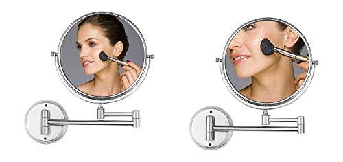 Ambrosya® | Exklusiver Kosmetikspiegel aus Edelstahl mit 5-facher Vergrößerung| Bad Badezimmer Lampe Licht LED Make-Up Schminkspiegel Spiegel Tischspiegel WC (Edelstahl (Gebürstet), 5X) - Beleuchtete Wand Make-up-spiegel