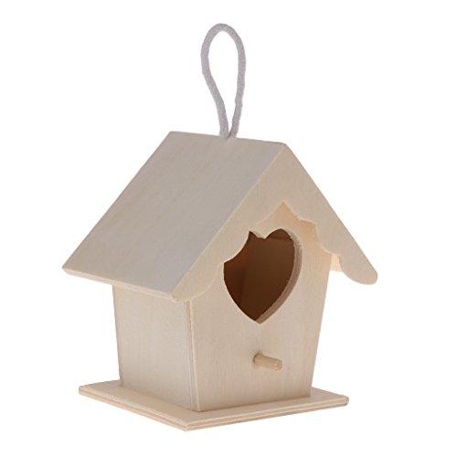 Manyo de Nido de pájaro Madera Natural casa DIY Decorativo en Forma corazón ahorcamiento Nido para Loro Periquito