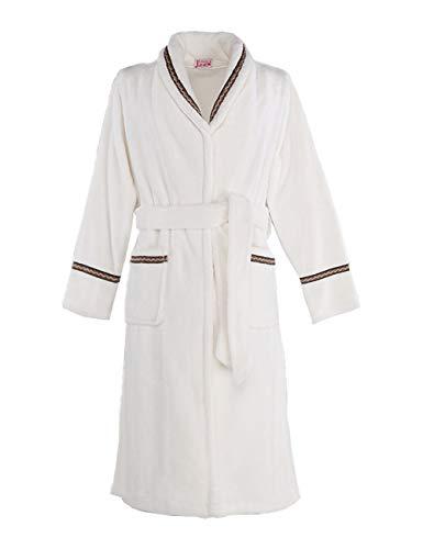 Hhalibaba Herbst Pyjamas, Dicke Lange Männer und Frauen korallenrote Fleece-Herrenroben, Herren Winter Flanell Bademantel (Weiß,S)