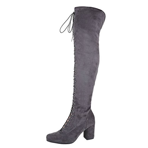 Ital-Design Overknee Stiefel Damen Schuhe Klassischer Stiefel Pump Moderne Reißverschluss Stiefel Grau, Gr 39, Xt86-