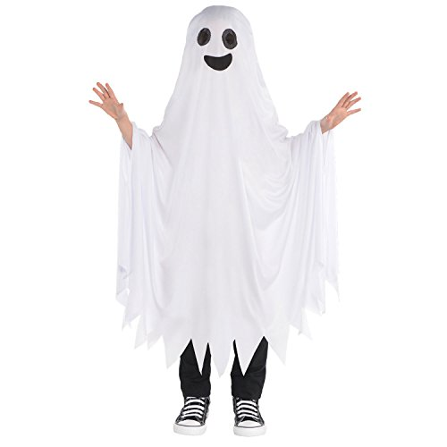 Ghost Cape Childrens Fancy Dress Halloween Spooky Ghoul Jungen Mädchen Kinder Kostüm (Ghoul Kostüm Jungen)