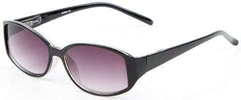 +2.00 Womens Designer Style Black Reading Sunglasses Spring Hinged Temples, 100% UV Protection Lightly Tinted Gradient Lenses, Retro Fashion Classic +2 Prescription