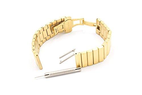 vhbw Edelstahl Ersatz-Armband gold 22mm für Smartwatch Fitness-Tracker LG G Watch, R Watch, Urban