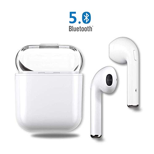 Auriculares Bluetooth Inalámbricos Cascos Deportivos Auricular Running, Cargador de Manos Libres portátil Compatible con iPhone X, 8, 8 Plus,Samsung Galaxy, Huawei, Xiaomi (Blanco) (Blanco)
