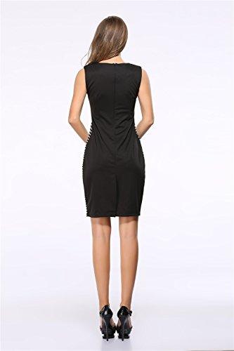 Senza Maniche nero bianco Stripe a blocchi di colore Zipper retro spacchi Mini Bodycon Aderente Fasciante Vestito Abito nero bianco