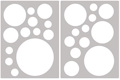 Premyo set 25 cerchi sticker da muro adesivi murali bambini decorazioni a parete cameretta facile da applicare adatta carta da parati ruvida bianco