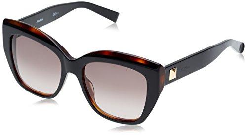 Max mara mm prism i eu uvp, occhiali da sole donna, nero (bkdktor black/grey sf), 53