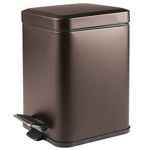 MDesign Papelera de baño Cuadrada de 6 litros - Cubo de Basura con Pedal, tapadera y cubeta de plástico...