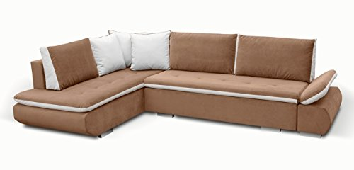 Furnistad - Ecksofa SOPHIA Mit Schlaffunktion Und Bettkasten (Hellbraun, Option links)