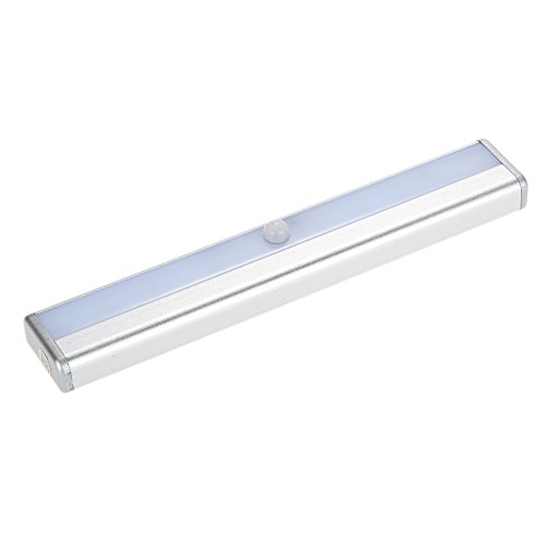 Docooler 10 LED Night Light Under Cabinet Closet Lamp PIR Motion Activated Sensor Light Control Portable Rechargeable Battery Operated Magnetic Base Stick-on Anywhere for Stair Step Drawer Bar Storage Test