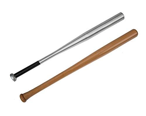 Edelstahlmarkenshop Baseballschläger aus Alu & Holz und in 6 Längen auswählbar von 54-84cm (Holz, 84cm) -