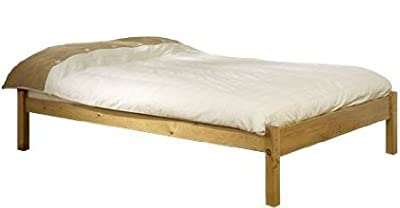 Small Double Pine Bed 4ft Studio Double Bed Wooden Frame with extra wide base slats and centre rail - VERY STRONG - inexpensive UK light store.