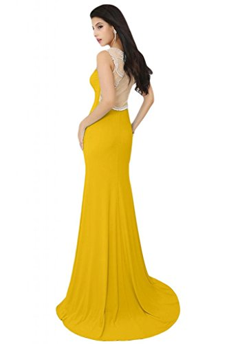 Sunvary Elegant Jewel Sheer sirena cinghie senza maniche, in Chiffon Prom Tulle Gowns sera Gold