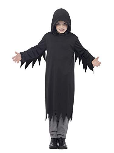 Smiffys 45482L - Kinder Jungen Dunkles Sensenmann Kostüm mit Kapuze, Alter: 10-12 Jahre, schwarz