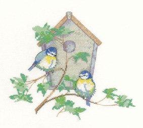 PATRIMOINE Crafts Sue Hill mésanges Nichoir Kit point de croix compté Motif oiseaux Bleu Aida 14fils/cm²