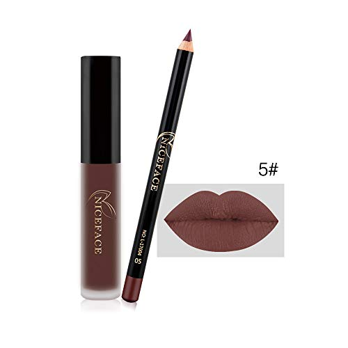 Lipgloss,Rabatt,PorLous 2019 Beliebt Kosmetischer Lipliner-Stift-Bleistift + Mattlipgloss Mode Make...