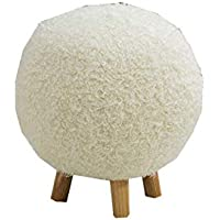 Preisvergleich für Esperanza Hocker Massivholz Abnehmbare Waschbar Ball Fußbank Für Schlafzimmer/Flur / Küche/Balkon (grau, Durchmesser: 37cm, Höhe: 43cm) (Farbe : Weiß)
