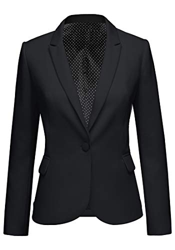 Roskiki Women's Black Lapel Blaz...