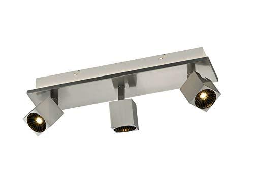 Spot LED à 3 ampoules en nickel mat avec éclairage indirect, spots LED orientables pour un design individuel.