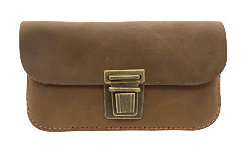 Made in Germany Leder Gürteltasche Bikertasche Hüfttasche Bauchtasche Smartphone geeignet Vintage Look + Taschen-Nagelfeile -