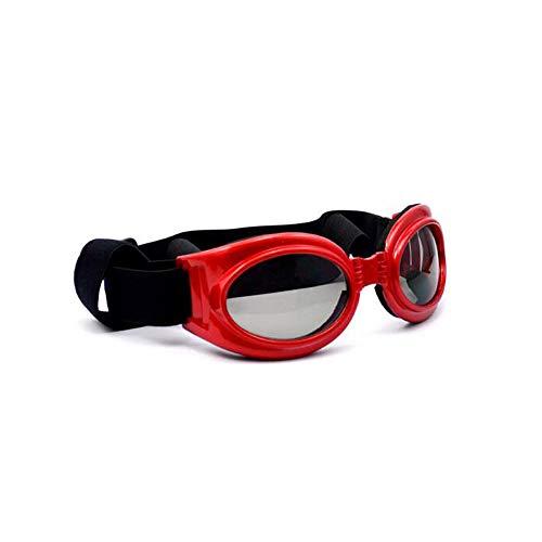 Wagsiyi Pet Brille Haustier-Hundebrille-UVsonnenbrille, windundurchlässiger Schutz-Hündchen-Welpen-Sonnenbrille, Hundebrille für mittleren/großen Hund Katze Sonnenbrille (Farbe : Rot)