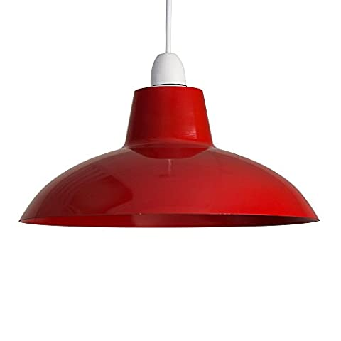 Retro Style Gloss Red Metal Easy Fit Ceiling Pendant Light Shade