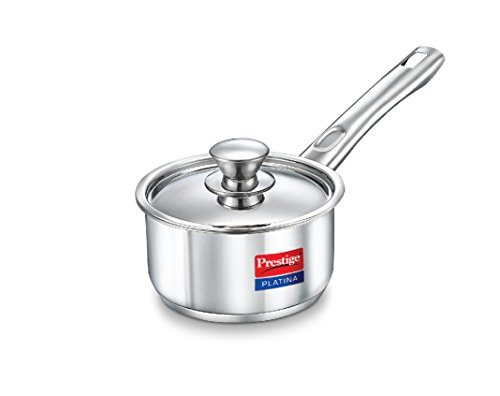 Prestige Platina Induction Base Stainless Steel Sauce Pan, 160mm/1.5 Litres, Metallic Steel