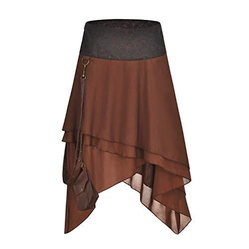 FLYFISH Falda gótica Alta y Baja con Volantes para Mujer, Talla Grande, Estilo Vintage, Falda de corsé, Vestido Largo
