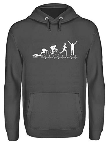 Triathlon Shirt · Geschenkidee für Triathleten· Motiv: Triathlon Herzschlag Evolution 2 - Unisex Kapuzenpullover Hoodie -S-Stahlgrau (Triathlon Hoodie)