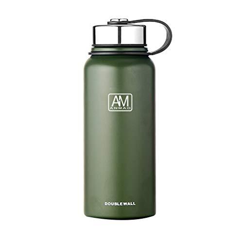 Borraccia termica da 610 ml/800 ml/1100 ml/1500 ml, a doppio strato, in acciaio inox, per acqua calda e fredda, per caffè e acqua calda x-large Green