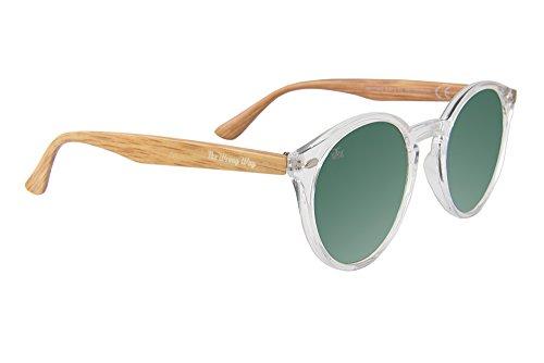 The Wrong Way Gafas de sol Efecto Madera Lentes de espejo verdes. Montura resistente a golpes y deformaciones. Incluyen funda grabada y toallita limpiadora
