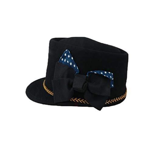GOUNURE Fedora-Hüte aus Wollfilz mit Flacher Krempe Eleganter klassischer Vintage-Trilby-Hut Equestrian Knight Jazz Cap mit großem Bogen