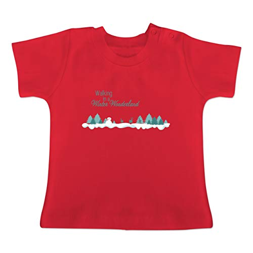 Weihnachten Baby - Walking in a Winter Wonderland Schnee - 1-3 Monate - Rot - BZ02 - Baby T-Shirt Kurzarm