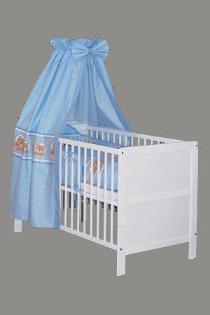 """Preisvergleich Produktbild KOKO -Kinderbett   """"NELE""""   Komplettbett   weiss   umbaubar zum Juniorbett   Designwahl (Design: Sternchen blau)"""