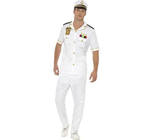 Smiffys Herren Kapitän Kostüm, Oberteil, Hose und Hut, Größe: L, - Herren Kapitäns Kostüm