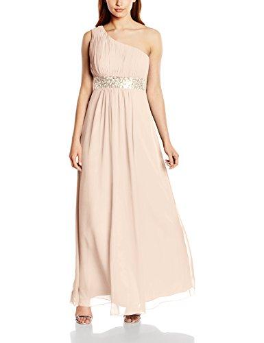 Astrapahl Damen Kleid One Shoulder mit Pailletten, Maxi, Einfarbig, Gr. 42, Beige (Aprikot)