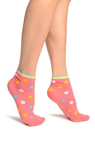 Pink With Rainbow Polka Dot Ankle High Socks - Rosa Socken Einheitsgroesse (37-42) -