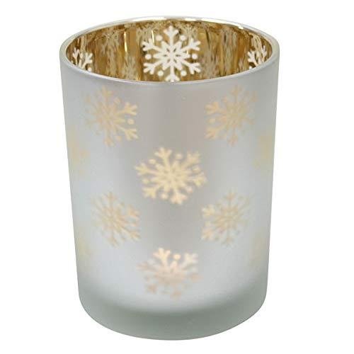 Krasilnikoff - Teelichthalter - Votive - Schneeflocken - Silber - Ø 10 cm