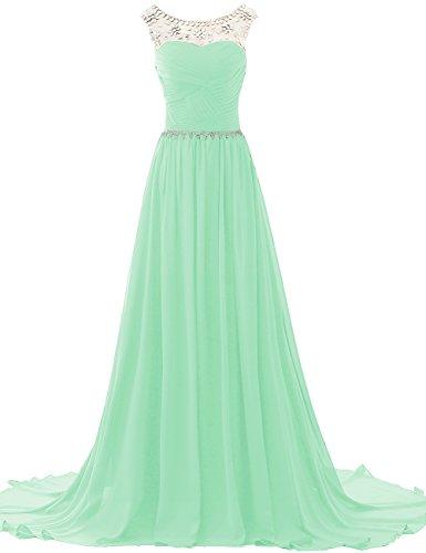 JAEDEN Donne Chiffon Abiti da ballo Vestito da sera Abiti da damigella con Perline lungo Menta verde