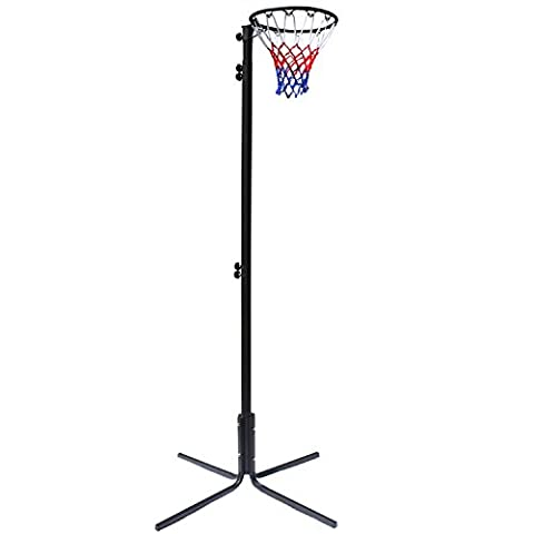 Bee Ball Freestanding Netball Post, Height Adjustable from 2.25m to 3.05m (7' to 10')