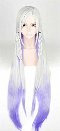 (LanTing Cosplay Perücke Sword Art Onlin YUNA White Mix Purple Lange Perücke Frauen Cosplay Party Fashion Anime Human Costume Full wigs Synthetic Haar Heat Resistant Fiber)