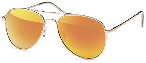 Hatstar Polarisierte Pilotenbrille Verspiegelt Fliegerbrille Sonnenbrille Pornobrille Brille mit Federscharnier (53 | Rahmen Gold - Orange verspiegelt)