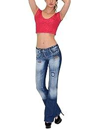 by-tex Damen Jeans Damen Bootcut Jeanshose Schlaghose Damen Hüftjeans Hüfthose in 10 aktuellen Designs AA