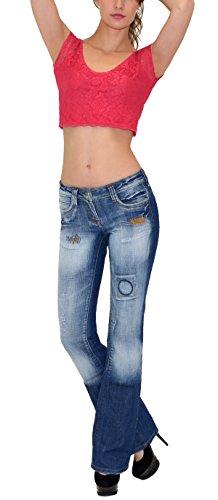 by-tex Damen Jeans Damen Bootcut Jeanshose Schlaghose Damen Hüftjeans Hüfthose in aktuellen Designs AA