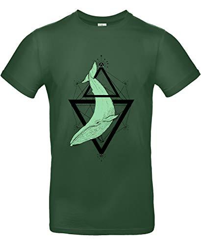 makato Herren T-Shirt mit Motiv Buckelwal in Triangel Grün Bottle Green XXL