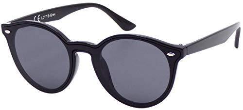 La Optica B.L.M. UV400 CAT 3 CE Damen Frauen Sonnenbrille Oval Rund Monoscheibe - Einzelpack Glänzend Schwarz (Gläser: Grau)