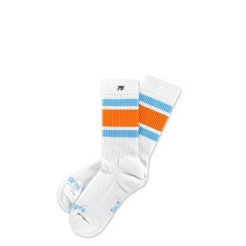 Spirit of 76 Endless Summer Lo | Halbhohe Retro Socken mit Streifen Weiß, Orange & Türkis gestreift | stylische Unisex Kniestrümpfe Größe M (39-42) -