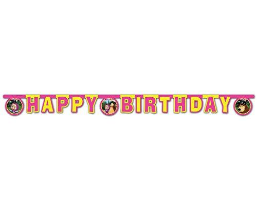 Guirlande articulée Happy Birthday Masha et Michka 2 mètres - Taille Unique