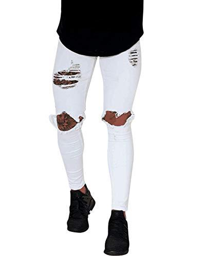 Pantaloni uomo jeans skinny strappati elasticizzati da uomo pantaloni jeans da denim slim fit strappati,#1872,m