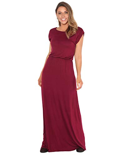 KRISP 3269-WIN-14 Damen Leichtes Kleid (Weinrot, Gr.42)